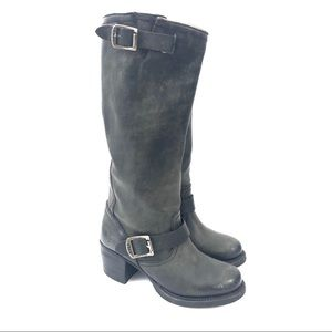 Frye Size 6 Black Vera Slouch Rugged Moto Boots
